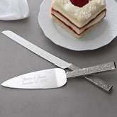 Engraved Wedding Cake Knife & Server Set with Rhinestone Handle - 7148