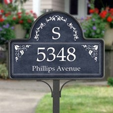 Personalized Yard Stake Address Plaque with Monogram - 7152