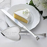 Personalized Wedding Cake Knife & Server Set - Heart Design - 7158