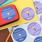 Personalized Kids Cartoon Character Stickers - 7175