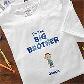 Boy Cartoon Character Personalized Kids T-Shirts - I'm The Brother