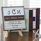 Personalized Baby Boy Announcement Canvas Wall Art - 7178
