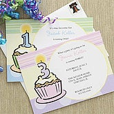 Blue Personalized Birthday Invitations for Boys - Cupcakes