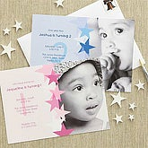 Blue Personalized Birthday Invitations for Boys - Birthday Star