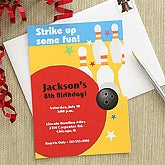 Personalized Bowling Party Invitations - 7208
