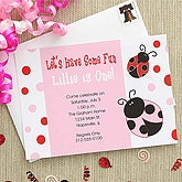 Ladybug Personalized Girls Party Invitations - 7209
