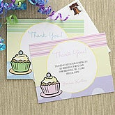 Blue Personalized Boys Thank You Cards - Cupcakes