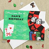 Personalized Birthday Party Invitations - Poker - 7249