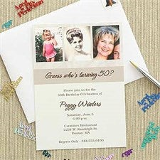 Personalized Then Now Photo Birthday Party Invitations