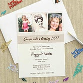 Personalized Then & Now Photo Birthday Party Invitations - 7254