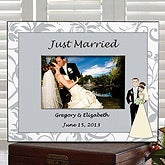 Personalized Wedding Frames - Just Married Bride & Groom Characters - 7267