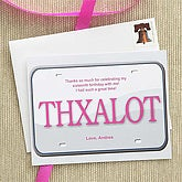 Personalized 16th Birthday License Plate Thank You Cards - 7282