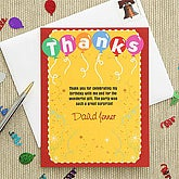 Birthday Balloons Personalized Thank You Cards - 7287