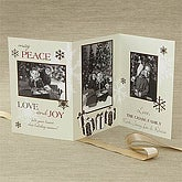Three Panel Personalized Vintage Photo Christmas Cards - 7318