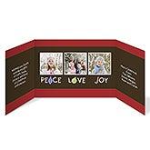 Peace, Love & Joy Personalized Gatefold Photo Holiday Greeting Cards - 7326