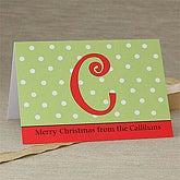 Custom Printed Christmas Cards - Polka Dot Monogram - 7329