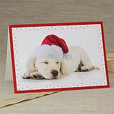 Santa's Little Helper Personalized Puppy Christmas Cards - 7351