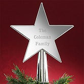 Silver Star Personalized Christmas Tree Topper - 7439