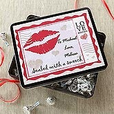 Sealed With A Kiss Personalized Chocolate Kisses Gift Tin - 7447