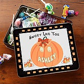 Personalized Halloween Pumpkin Candy Tin - 7461