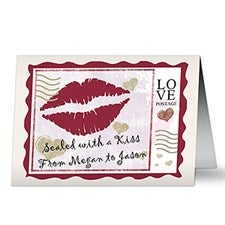 Romantic Personalized Greeting Cards - Sealed With A Kiss - 7473