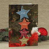 Holiday Stars Personalized Christmas Greeting Cards - 7524