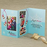 Warm Wishes Personalized Photo Christmas Cards - Three Panel - 7541