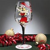 Santa's Helper Christmas Wine Glass - 7557