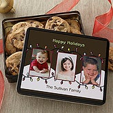 Christmas Lights Personalized Photo Cookie Gift Tins - 7579