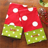 Embroidered Polka Dot Christmas Towel Set