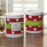 Personalized Christmas Holiday Coffee Mug - Polka Dot - 7605