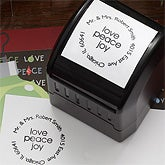 Personalized Holiday Address Stamp - Love, Peace, Joy - 7621
