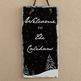 Personalized Holiday Wall Sign Decorations - Winter Snowscape - 7633