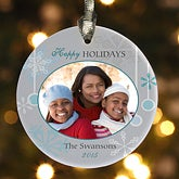 Snowflakes Personalized Photo Ornament