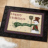 Let It Snow Snowman Personalized Doormat