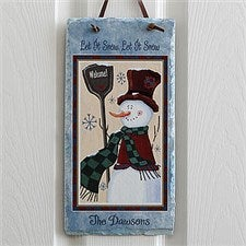 Old Fashioned Snowman Personalized Slate Wall Plaque - 7644