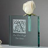 Floral Monogram Personalized Crystal Flower Bud Vase - 7653