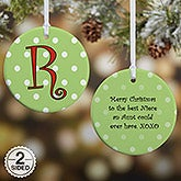 Personalized Christmas Ornament - Polka Dots - 7704