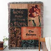 Love Makes A Home Personalized Afghan Blanket