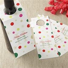 Personalized Wine Bottle Tags - Holiday Monogram - 7739