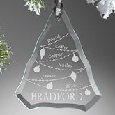 Personalized Family Christmas Ornaments - Glass Christmas Tree - 7763