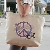 Personalized Tote Bag - Peace Symbol - 7765