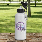 Reusable Personalized Aluminum Water Bottle - Peace Symbol - 7797