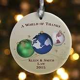 A World Of Thanks© Personalized Ornament