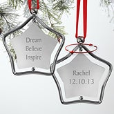 Inspiration Personalized Silver Star Christmas Ornament - 7854