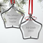 Personalized Super Star Engraved Silver Christmas Ornaments - 7855