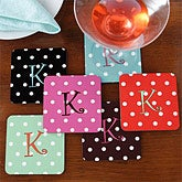 Personalized Coasters - Polka Dot Monogram  - 7868
