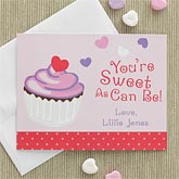 Personalized Valentine's Day Cards for Kids - Cupcake - 7876