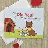 Personalized Valentine's Day Cards - I Dig You Dog Design - 7894