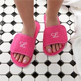 Monogram Personalized Pink Waffle Weave Spa Slippers - 7897